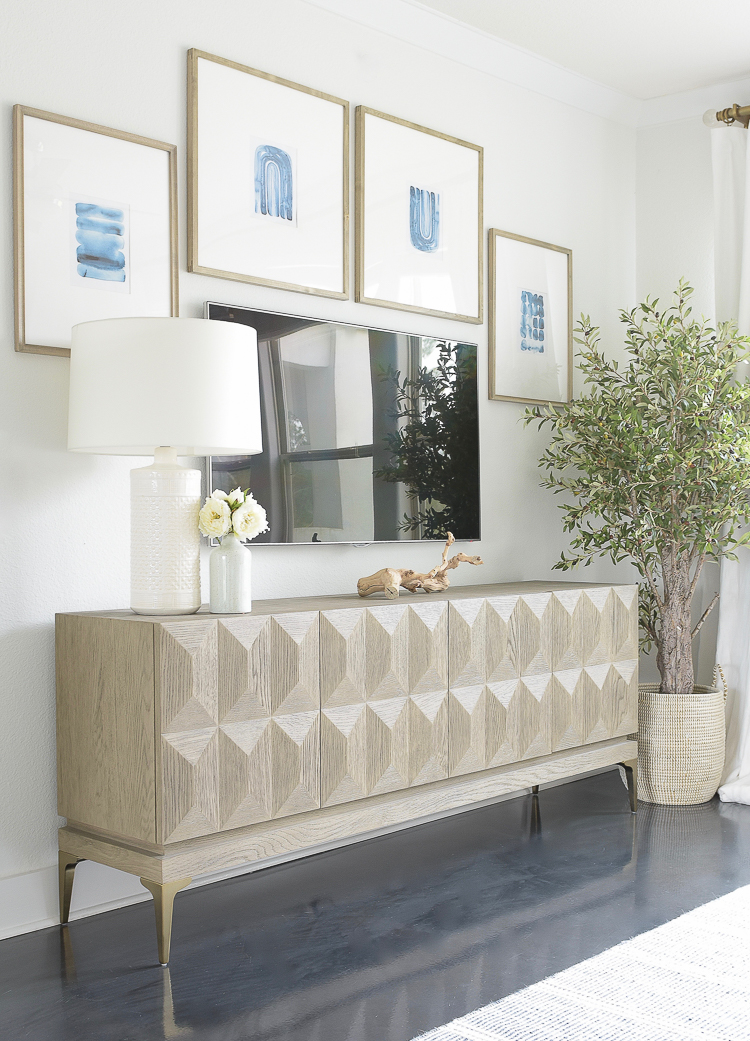 Light & Airy Spring Living Room Tour - Gallery TV Media wall w/ faceted media cabinet