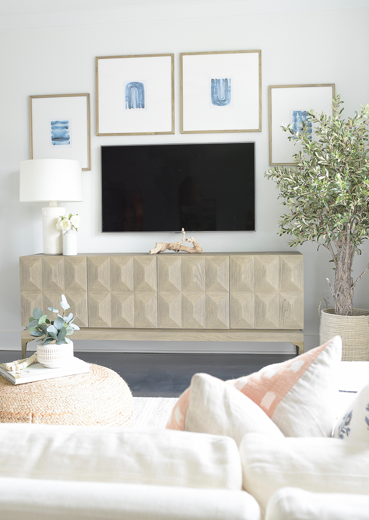 Light & Airy Spring Living Room Tour - tv gallery wall for spring