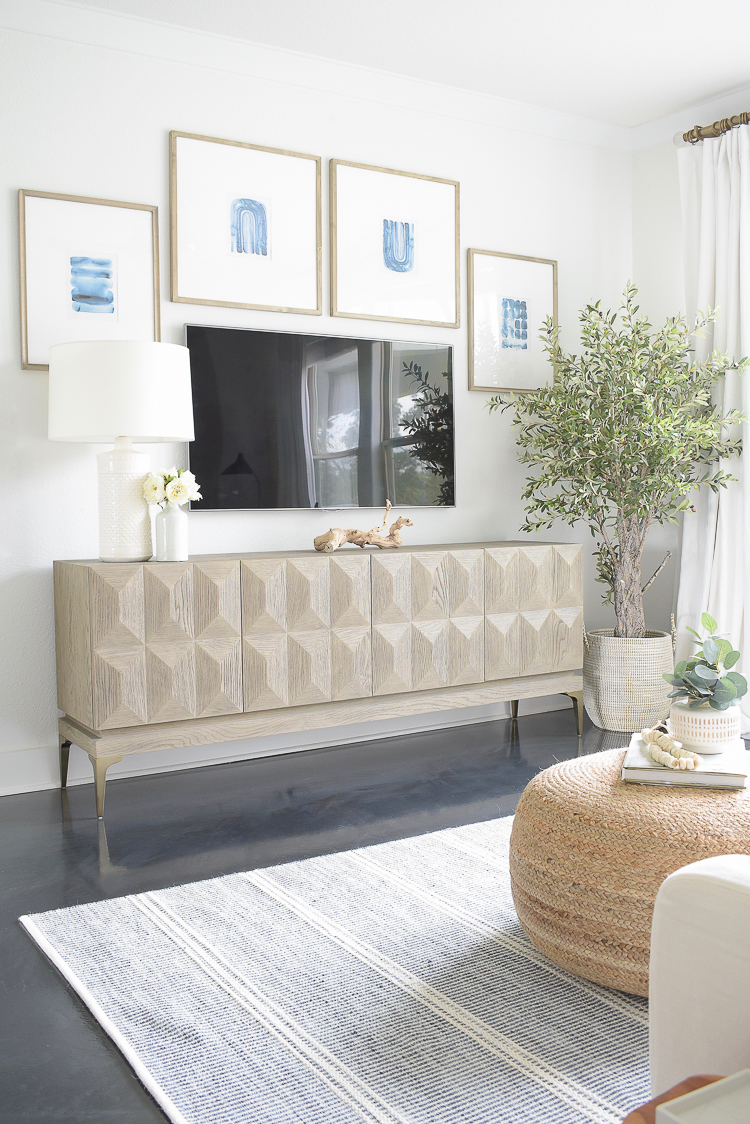 Light & Airy Spring Living Room Tour - TV / Gallery Wall - how to decorate around a tv