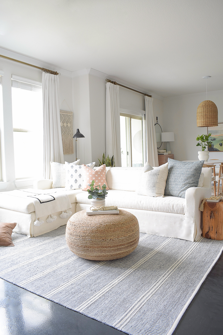 Light & Airy Spring Living Room Tour - boho chic living room decked with spring decor