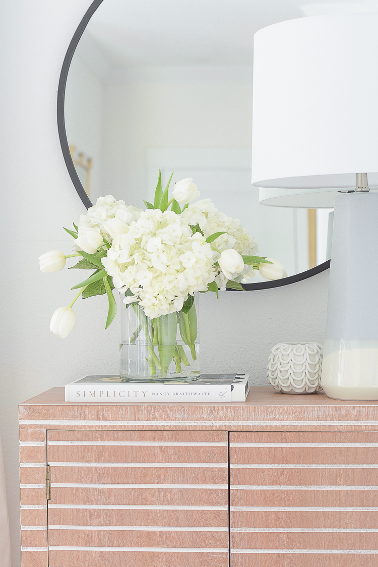 ZDesign At Home | A Stroll Through Life Spring Home Tour - white tulips and hydrangea mix floral arrangement