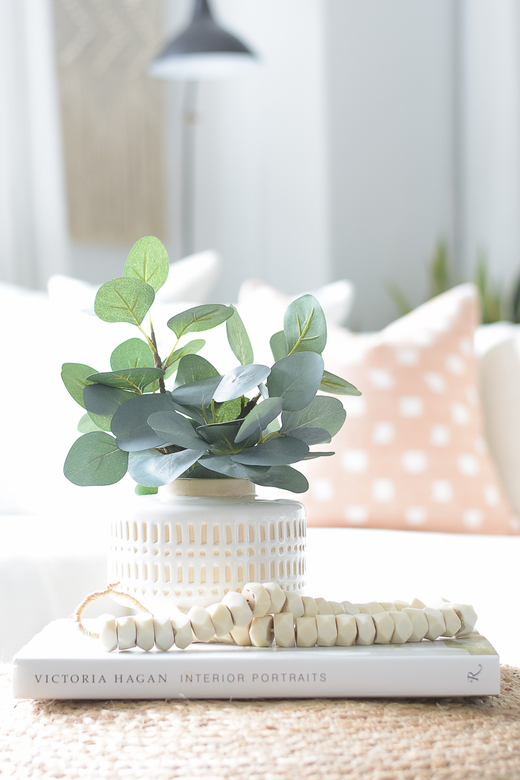 Light & Airy Spring Living Room Tour - best faux eucalyptus branches