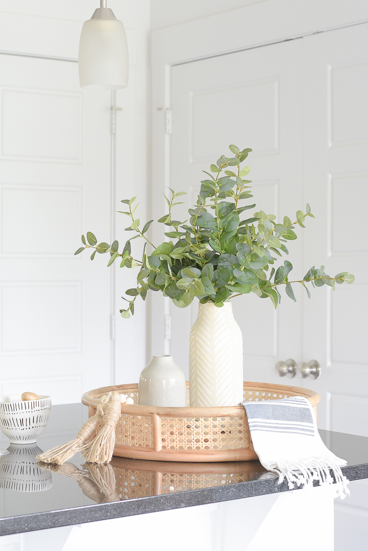 Light & Airy Spring Living Room Tour - faux eucalyptus arrangement
