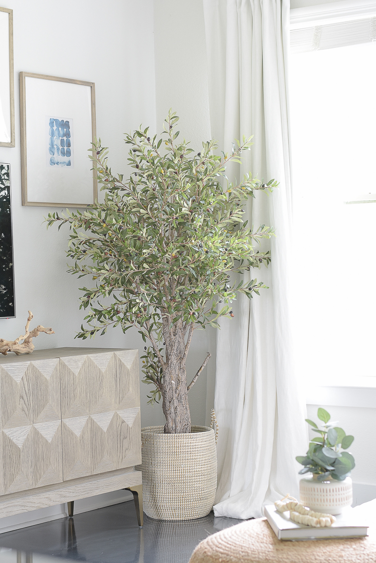Light & Airy Spring Living Room Tour - best faux olive tree