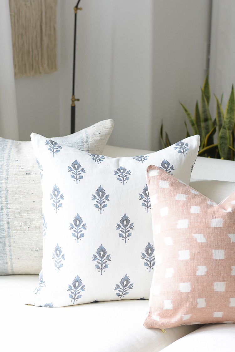 Light & Airy Spring Living Room Tour - Medallion blue and white Pillow McGee & Co