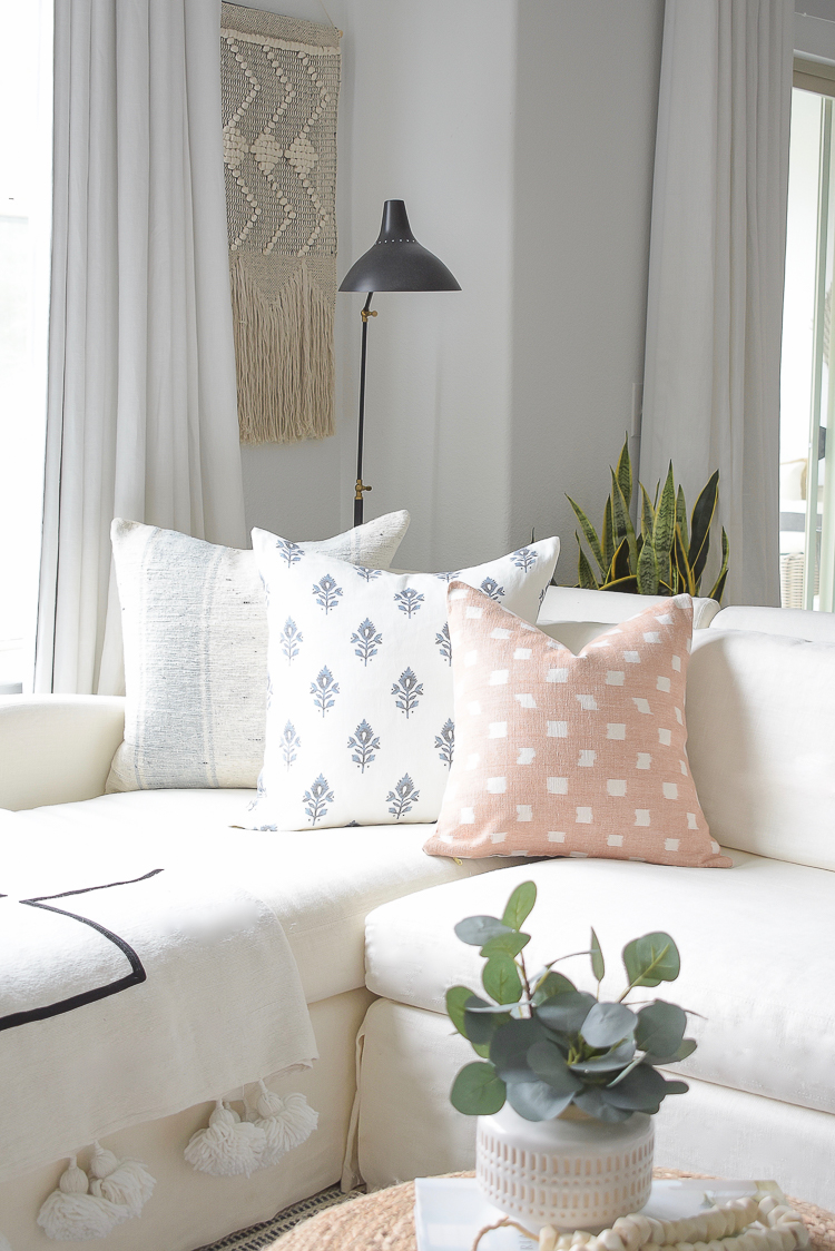 Light & Airy Spring Living Room Tour - spring pillow collection
