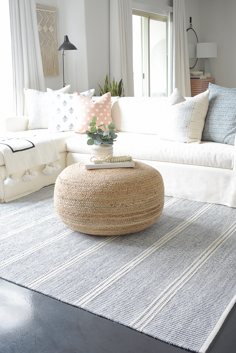 Light & Airy Spring Living Room Tour - blue and white natural women rug