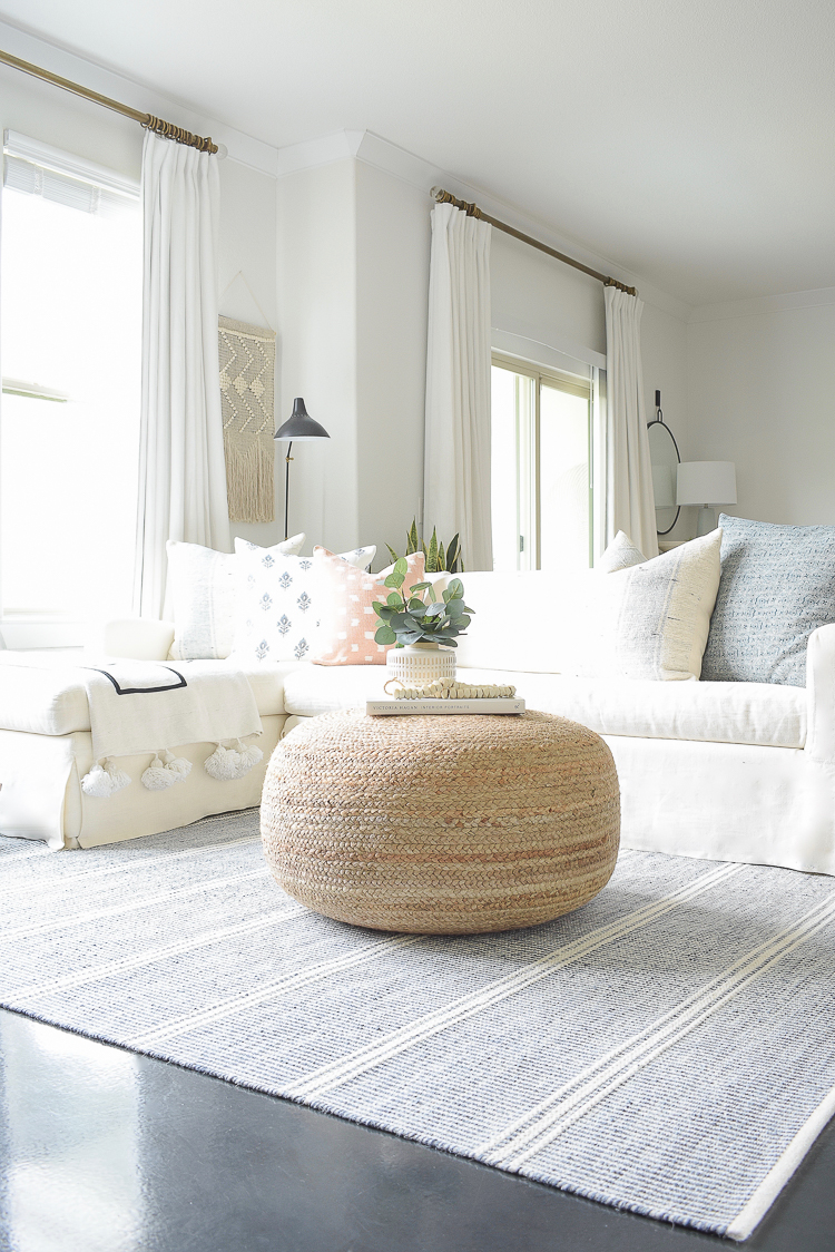Spring Living Room tour - juste pouf CB2 - large