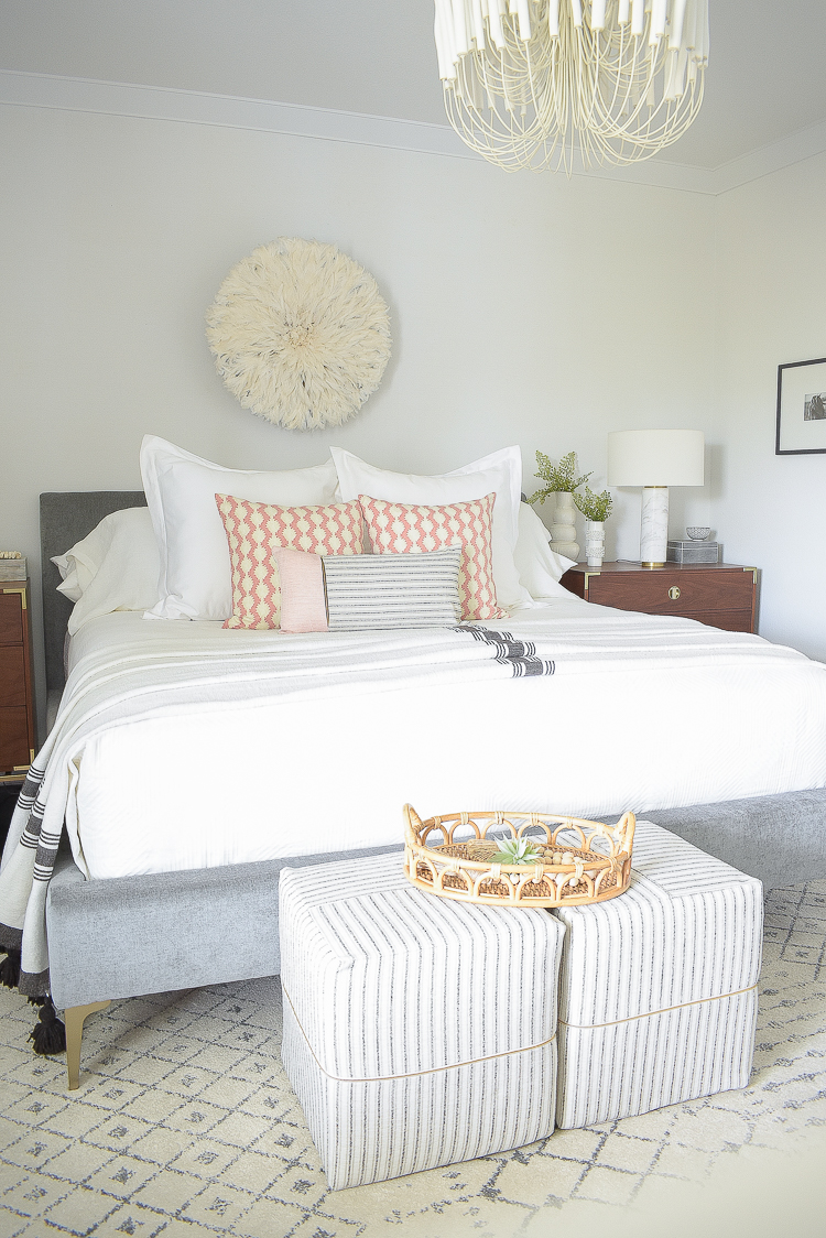 Styled for the season spring tour - boho chic bedroom, white bedding, coral pillows