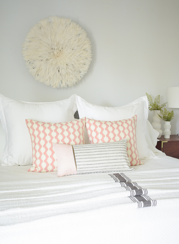 Styled for the season spring tour - boho chic coral pillows
