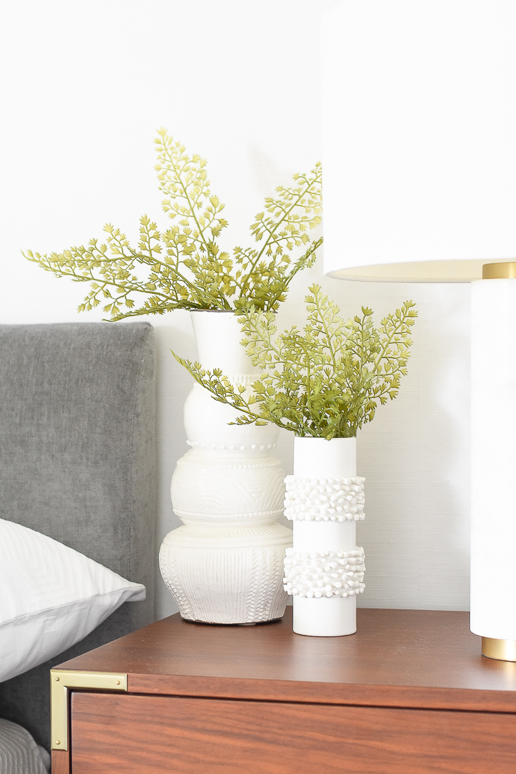 Styled for the season spring tour - faux ferns in white textured vase