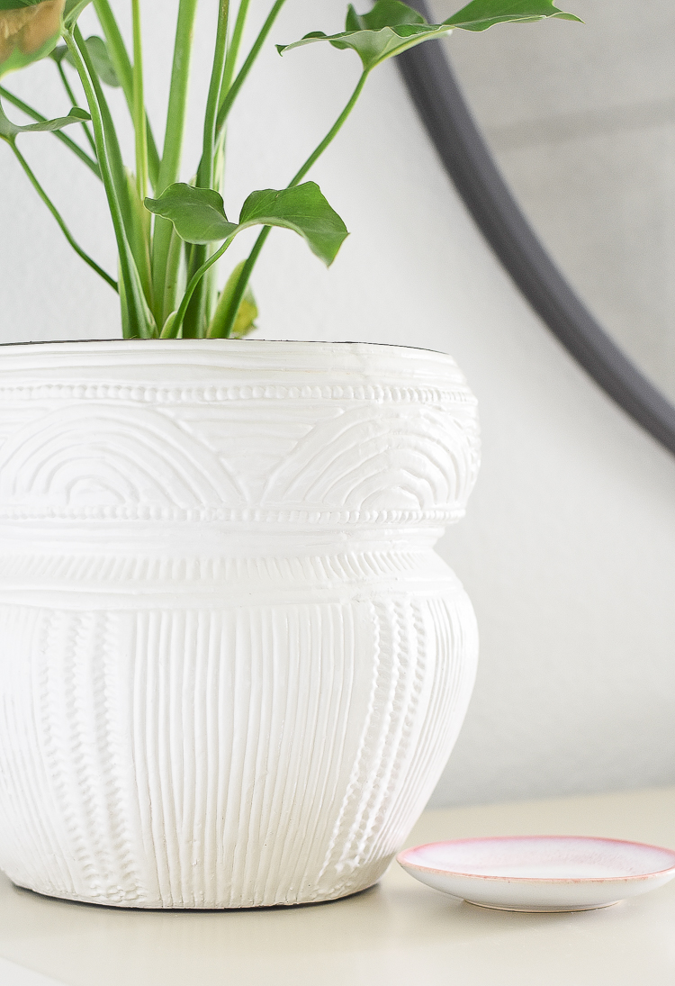 Styled for the season spring tour - white textured planter pot