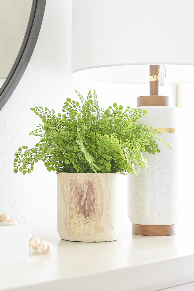 Styled for the season spring tour - modern faux fern in wooden pot