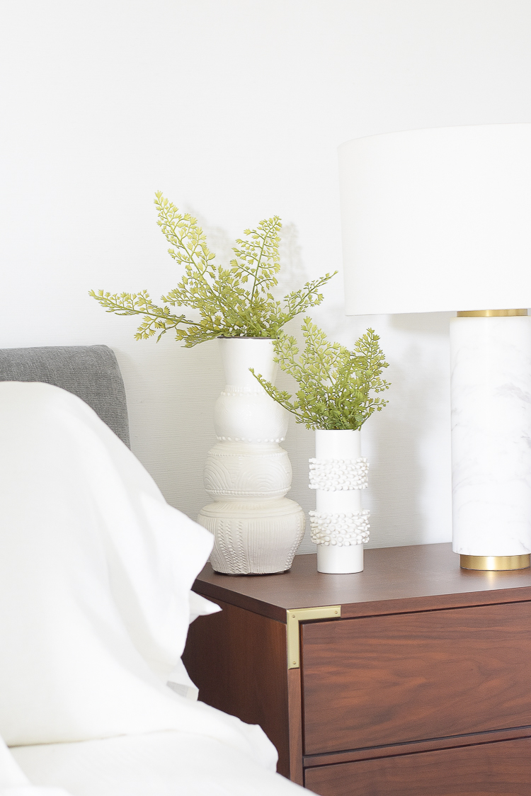 Styled for the season spring tour - faux ferns in textured vase