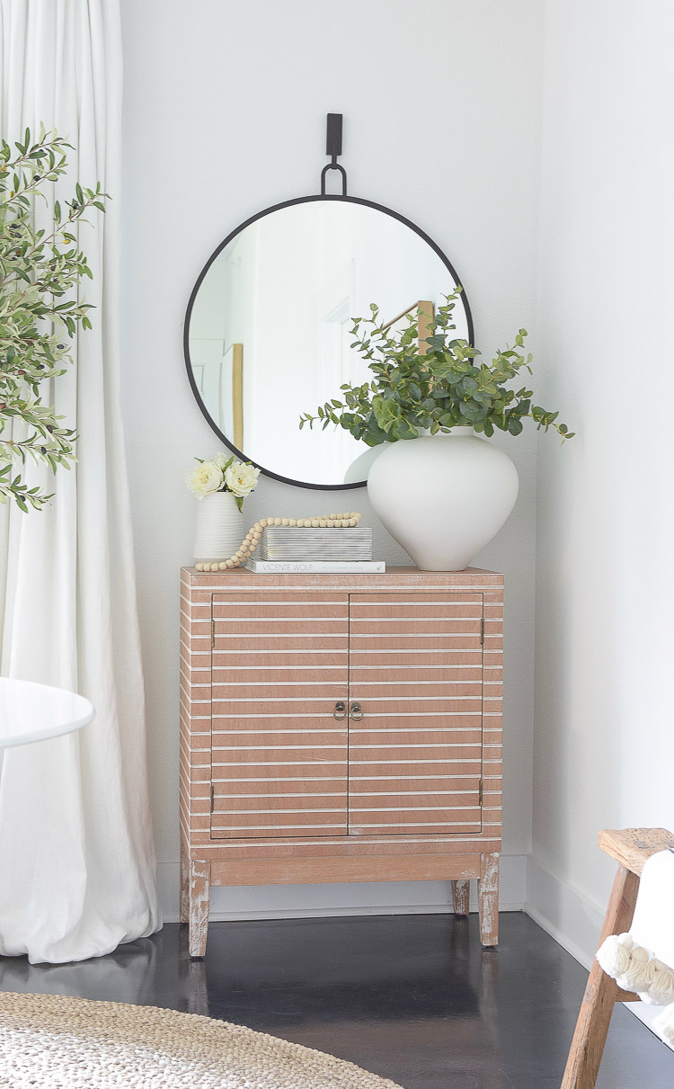Wayfair Way Day Best Blogger Picks - credenza w/ round black mirror and accessories