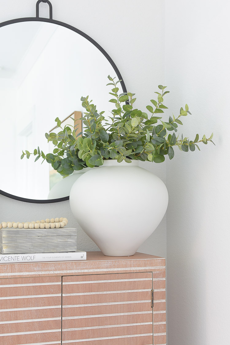 Wayfair Way Day Best Blogger Picks - large white vase, vessel with faux eucalyptus