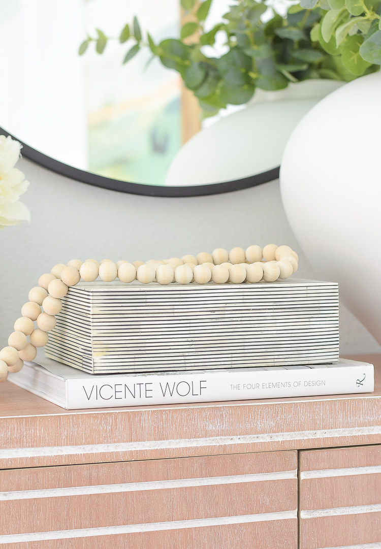 Way Day Wayfair best blogger picks - wooden beads, black and white striped decorative box