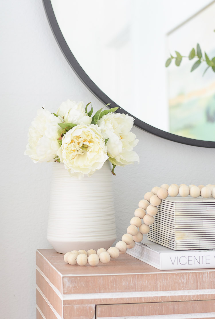 Wayfair Way Day best blogger picks - white textured vase with faux peonies