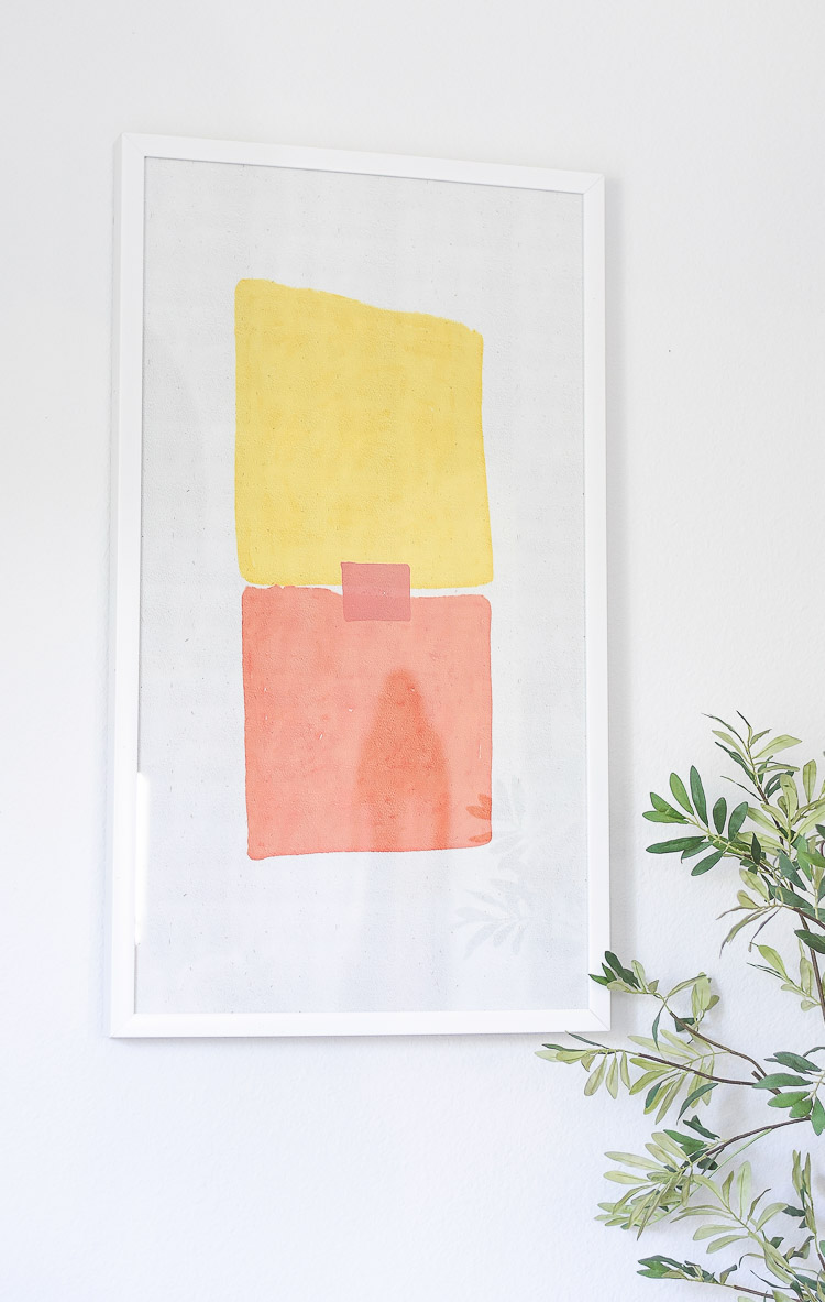 Adding pops of color to a summer home with the Flower Home Line at Walmart - Drew Barrymore abstract art