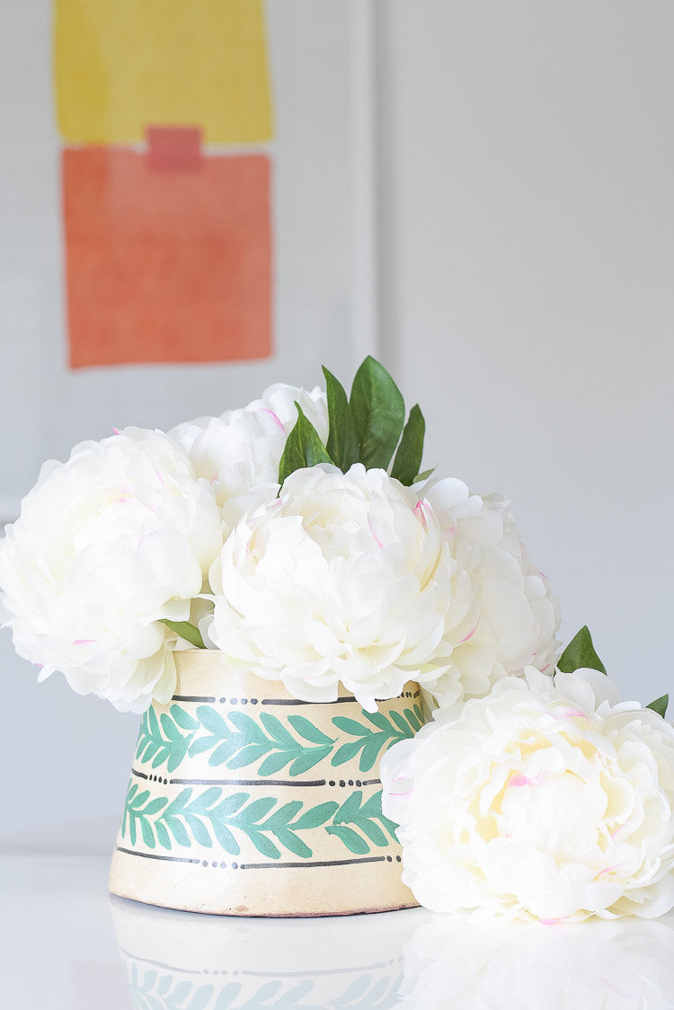 Drew Barrymore Flower Home Line at Walmart - adding pops of color and texture to a neutral home - globally inspired flower pot