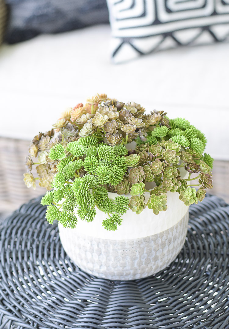 Tips For Creating A Relaxing Outdoor Space This Summer + A Patio Tour - faux succulent pics