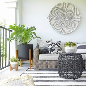 6 Tips For Creating A Relaxing Outdoor Space This Summer + A Patio Tour - Black and White Patio Decor