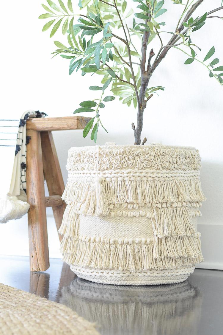 Flower Home Line by Drew Barrymore at Walmart - Macrame tassel fringe basket