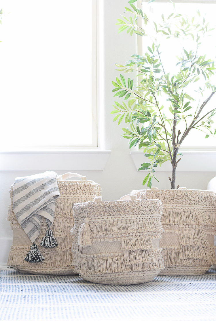 Drew Barrymore Flower Home Line at Walmart - adding pops of color and texture to a neutral home - macrame basket set of 3
