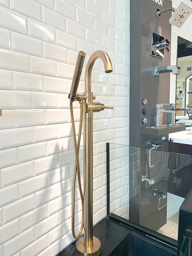 Delta Design Bloggers Event - Tub filler in champaign bronze, brass