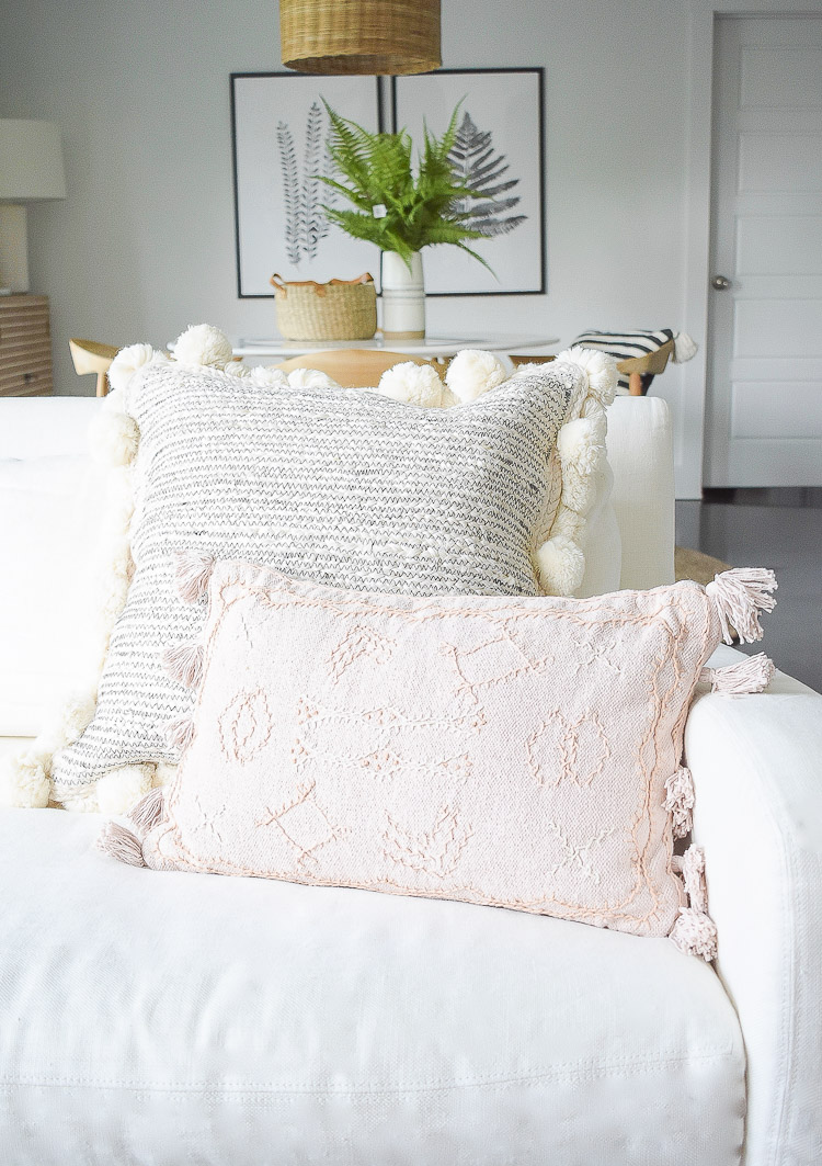 Black and white blush embroidered pom pom tassel pillows, summer living room home tour