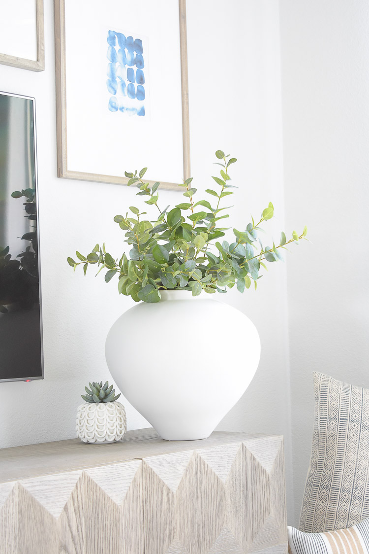 Summer Home Tour - best faux eucalyptus in large white vase