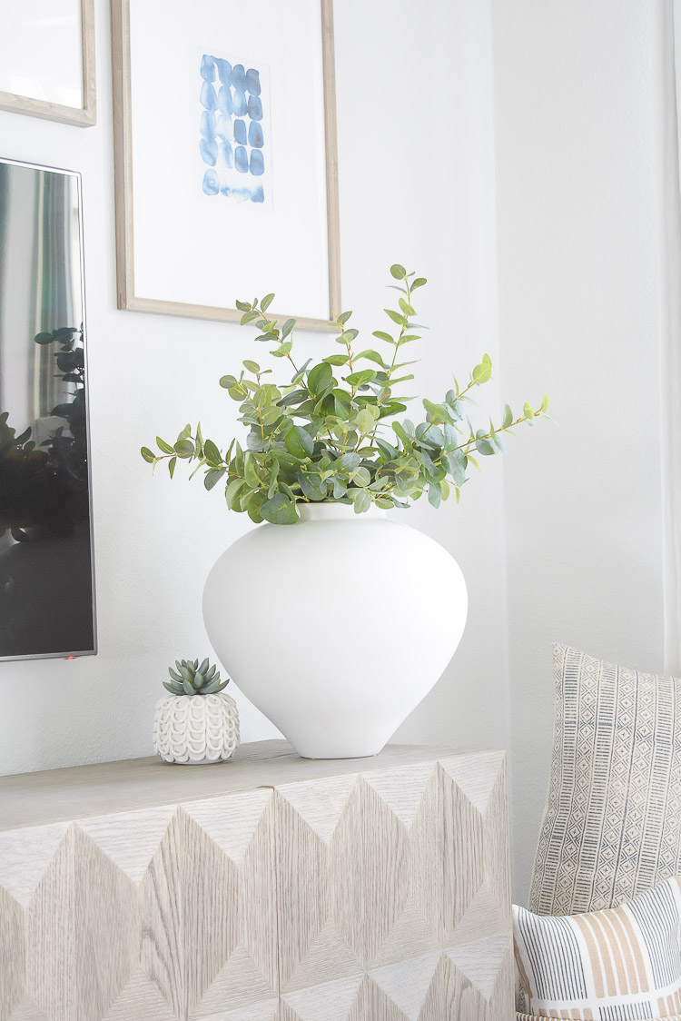 ZDesign At Home Summer Living Room Home Tour - large white vase, urn best faux eucalyptus