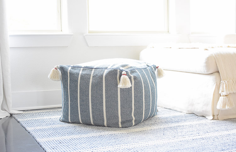 Summer Home Tour - blue and white striped tassel pouf