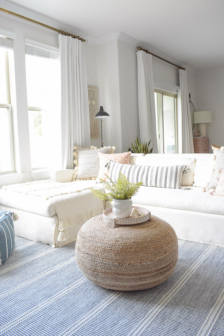 Summer Living Room Home Tour - Boho Chic White Living room design