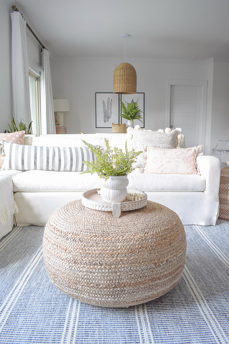 Summer Living Room Home Tour - Coffee Table accessories - how to style