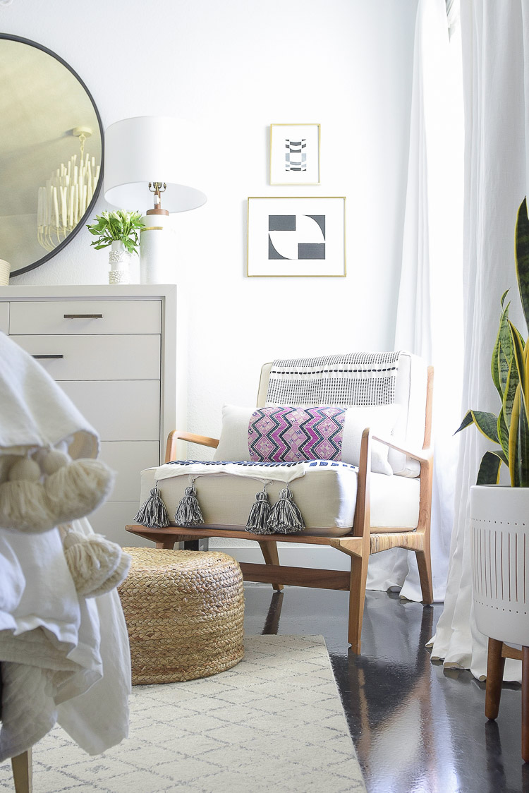 Zdesign At Home - Boho chic summer bedroom tour - teak chair, tassel throw, chinese wedding blanket pillow cover