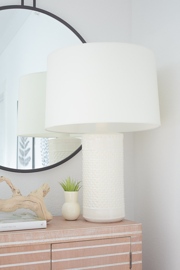Tips for adding natural summer decor + a dining room tour - white textured lamp