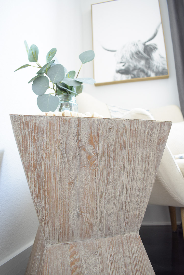 Vintage done modern home decor and accessories - white washed vintage inspired geometric side table