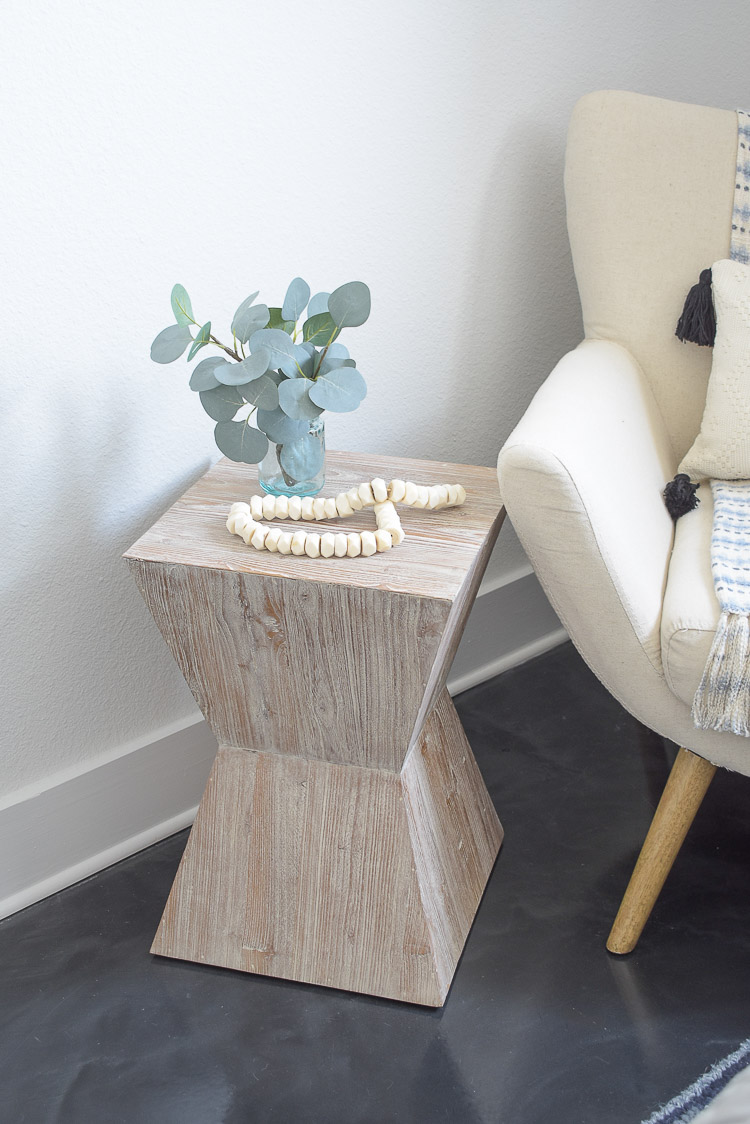 Vintage done modern home decor and accessories - white washed geometric vintage inspired side table