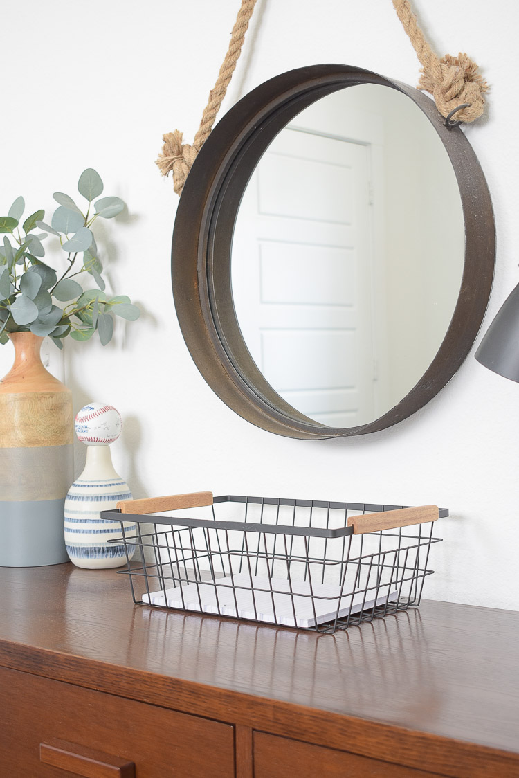 Stylish Home Decor & Organizing Ideas for Back To School - wire and acacia wood basket