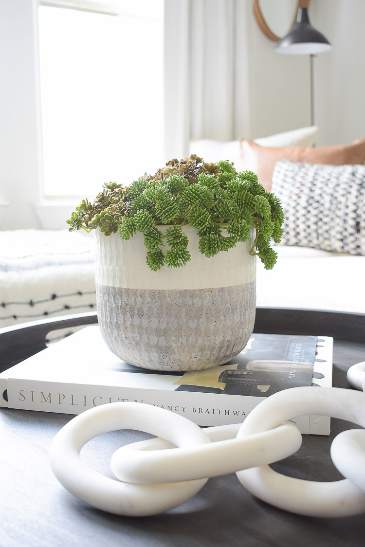 small space, big style solutions - faux succulents in pot