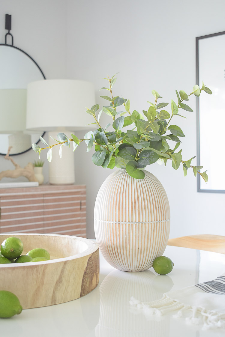 Vintage Chic Done Modern - white washed oval mango wood vase