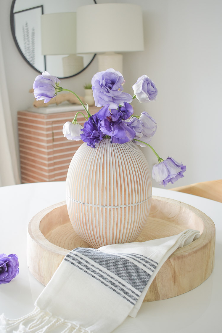 Vintage Chic Done Right - White washed oval mango wood vase