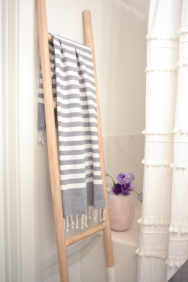Vintage done modern home decor and accessories - Gray and White Striped Turkish hand Towel