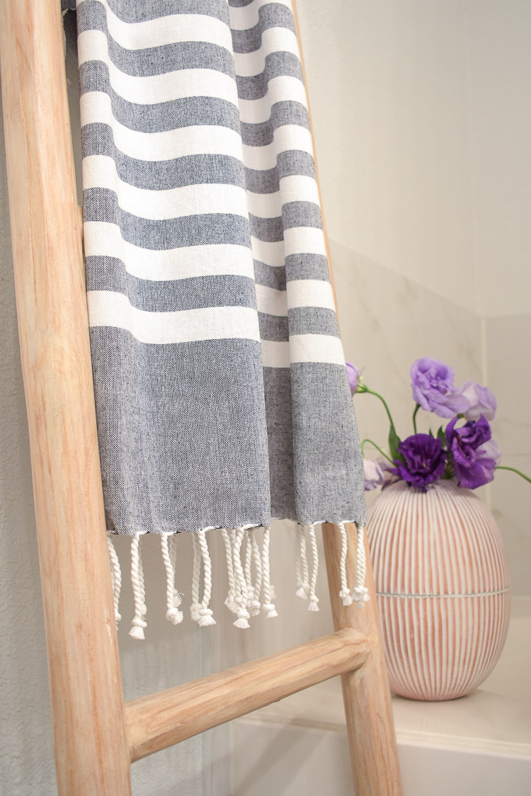 Vintage done modern home decor and accessories - gray and white striped turkish bath towel with fringe