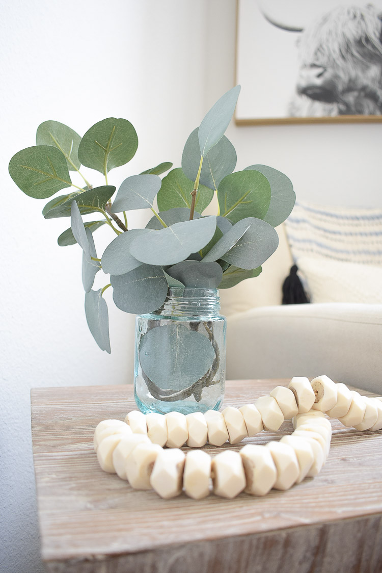 Vintage done modern home decor and accessories - vintage inspired glass jar with faux eucalyptus