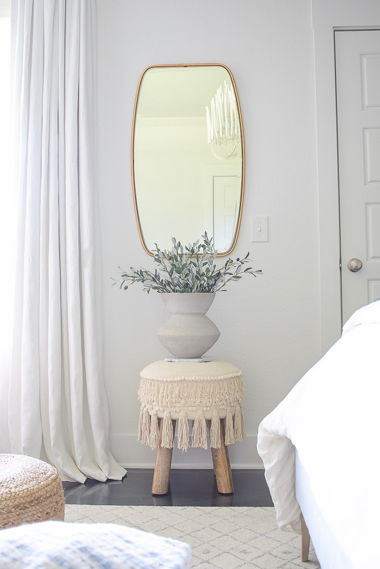 Fall bedroom tour - oval gold mirror, tassel ottoman,