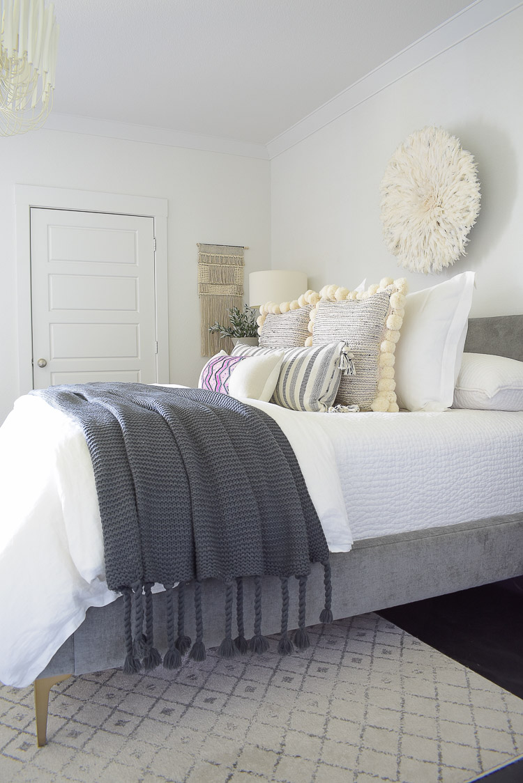 Fall bedroom tour - chunky gray tassel knit throw blanket