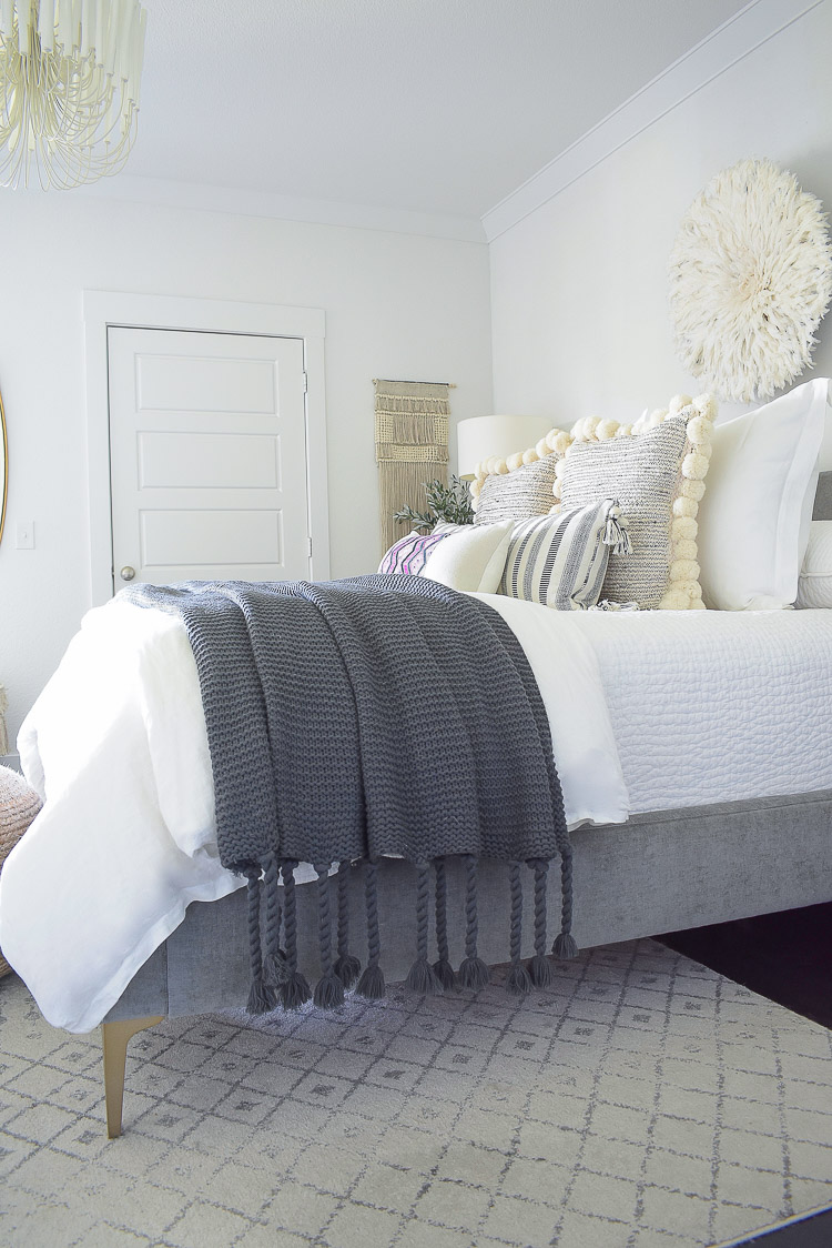 Fabulous chunky gray tassel throw