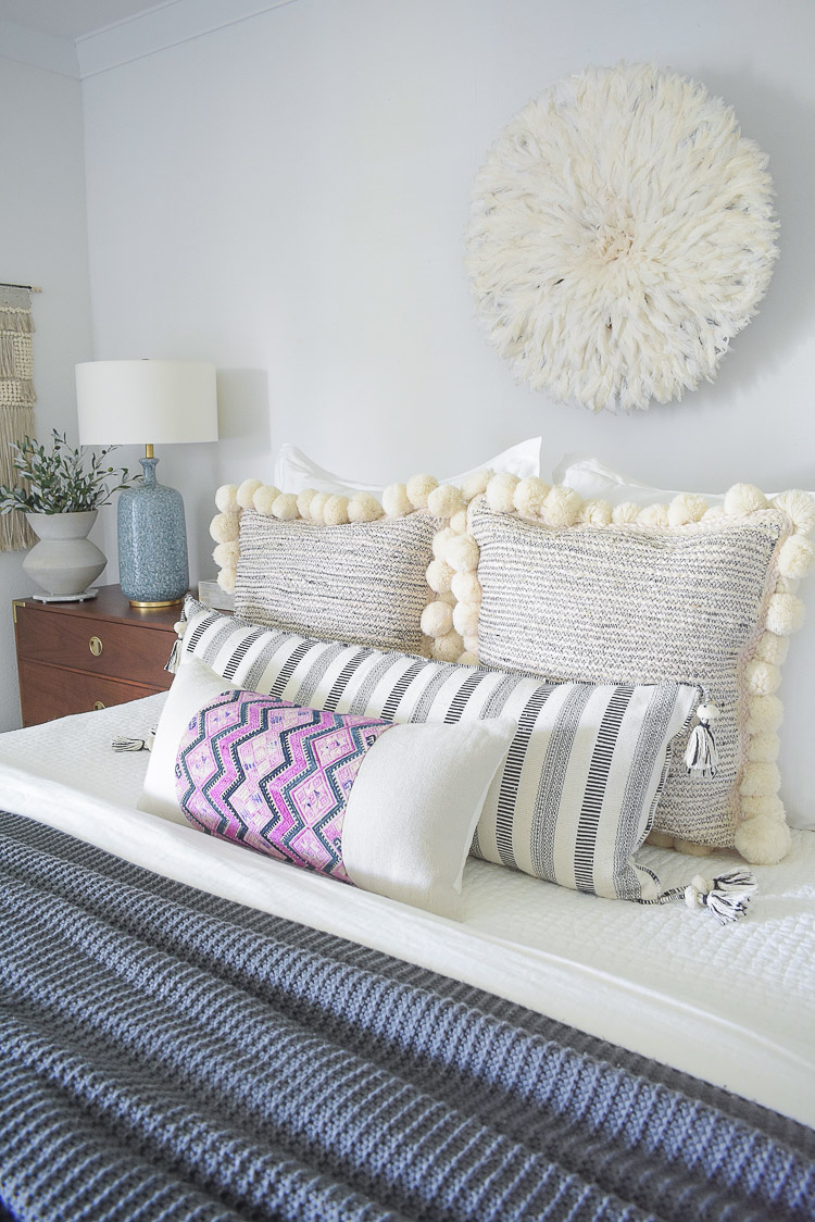fall bedroom tour - textured pom pom pillows